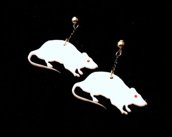 White Creepy Cute RAT Earrings with Red Rhinestone Eye --  Acrylic  -- With silver chain & Earring Posts