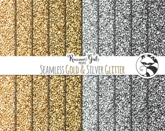 Seamless Gold and Silver Glitter Digital Paper Set - Personal & Commercial Use