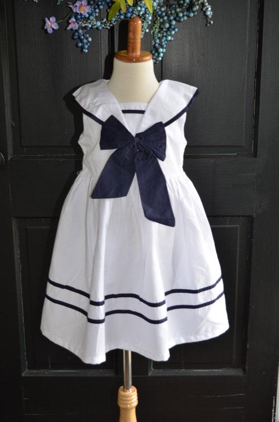 Nautical Sailor Dress, White Navy Blue Dress, Navy Sailor Dress, Nautical  Girls Dress, Nautical Wedding Dress, Party Dress