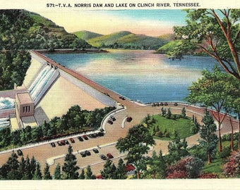Norris Dam, Norris Lake, Tennessee, Clinch River - Vintage Postcard - Postcard - Unused (PP)