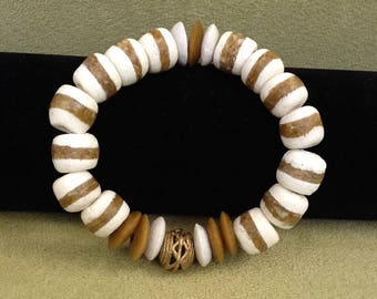Beautiful  Bracelet with White Kente and Ashanti Beads and a Tabular Brass Bead made in Ghana