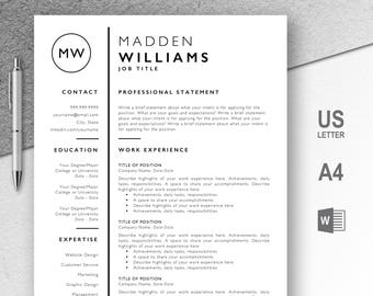 Professional Resume Template, CV, Curriculum Vitae, Template Design, Instant Download For Word, Two-Page Resume, Black, Madden
