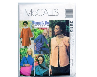 Poncho Pattern Vest, Hood, Tote Bag McCalls 3815 All Sizes Uncut Easy Beginner Sewing