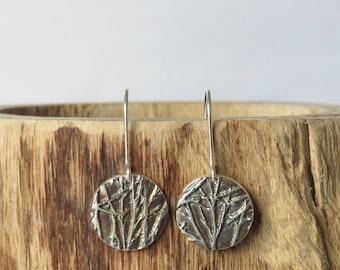 Branch circle fine silver drop earrings