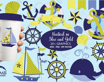 Nautical Clipart, Nautical Clip Art in Blue and Gold, Sailing Clipart, Whales Clipart, Sailboat Clipart, Anchors Clipart, AMB-518