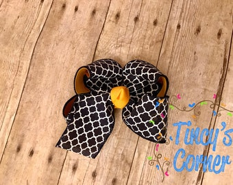 Navy and Yellow Gold Quatrefoil Hair Bow Large