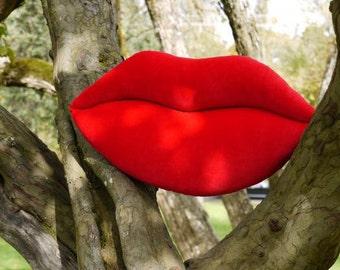 Scarlet Red Velvet Smooch - Lips Shaped Decorative Pillow - Mini Size