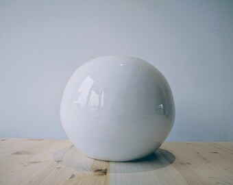 White  Ceramic Vase// Sphere//  Minimal design // Entirely handmade in Italy