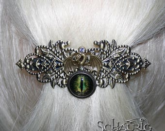 Hair clip with Green Dragon Eye