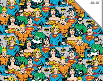 Stretchy DC Comics Superheroes Cotton Knit fabric