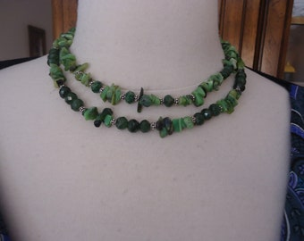 Handmade 2-Strand Chrysoprase and Green Stone Necklace/Choker w/ Sterling Beads and Clasp