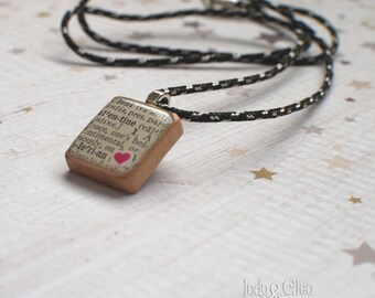Vintage Dictionary Page, Valentine Scrabble Necklace, Handmade Scrabble Pendant, Upcycled Wood Tile, Scrabble Jewelry, Distressed Look Tile