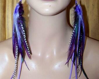 Purple Earrings, Feather Earrings, Long Feather Earrings, Purple long Feather Earrings, Purple Earrings, Skinny Feathers, Feathers, Earring