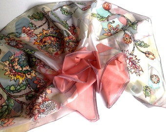 Natural silk scarf -Summer mysterious blossom- hand painted by free hand-floral motives-great gift for her-original one of kind creation