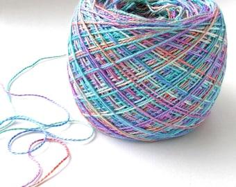 Bamboo Yarn Hand Dyed Yarn Soft Shiny Yarn Unique Yarn One of a Kind Fingering Weight 530 yards Pastel Rainbow - Pastel Sky