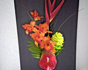 Tropical silk flower floral arrangement, hotel office decor