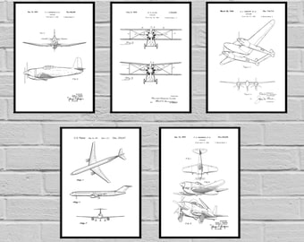 Airplane blueprint etsy airplane patent set of 5 aircraft poster airplane art aviation decor airplane malvernweather Image collections