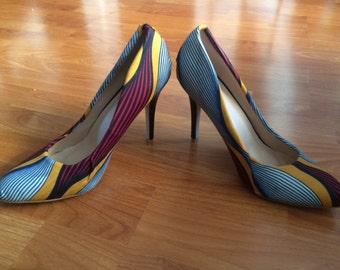 African Fabric Heels
