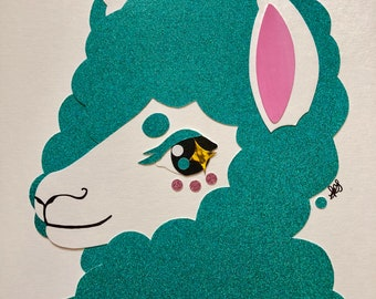 Original Handmade Mixed Media/ Collage: The SASSY ALPACA COLLECTION (turquoise)