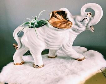 Vintage White + Gold Ceramic Elephant Plant Holder