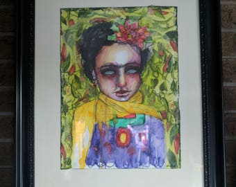 Frida- An Original Mixed Media Painting on paper by Amber Button