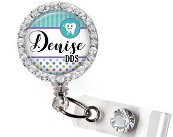 ON SALE - Badge Reel, Rhinestone Badge Holder, Bling Badge Reel, Dentist Badge, ID Holder, Retractable Badge Reel, Personalized, Gifts for D