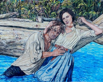 """Limited edition Jamie and Claire in Jamaica 11"""" x 17"""" art ptint."""