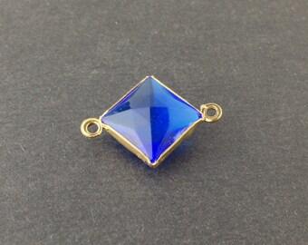 2 Loop Vintage Sapphire Acrylic Faceted Channel Set Square Drops 14mm (6) chr087D