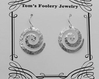 Saw Pierced Hammered Swirl Sterling Earrings-Earrings-Silver Jewelry-Saw Pierced Jewelry-Jewelry-Earrings for Women-Hoop Earrings-Sterling