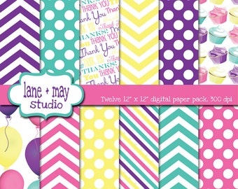 digital scrapbook papers - pink, purple, aqua and yellow cupcake party patterns - INSTANT DOWNLOAD