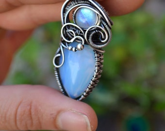 Opalite and Moonstone Antique Silver Wire Wrapped Pendant. Unique Crystal Wrap Necklace. Glass Gemstone Pendant. Fantasy Boho Necklace.