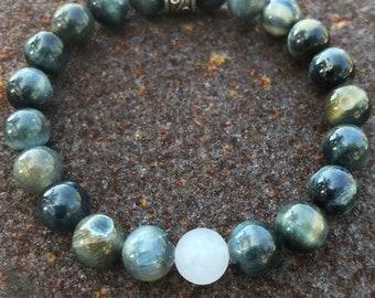 Blue Tiger Eye with White Jade Bracelet