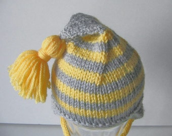 Earflap Hand Knit Baby Hat with Tassel in Yellow and Gray for Newborn Infant Size 3 to 6 Months, Warm Clothes for Boy or Girl, Shower Gift