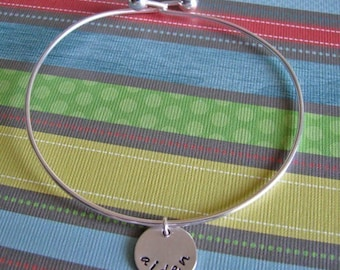 custom silver bangle bracelet with name charm