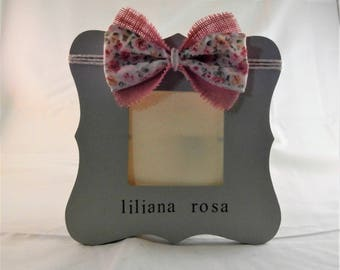Gift for Baby girl frame nursery floral baby shower decorations, picture frame personalized baby gifts from grandma