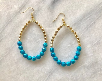 Large Teal and Gold Teardrop Earrings