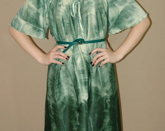 Vintage Boho Chic Green DRESS, 1970s