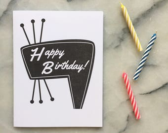 Happy Birthday Letterpress Neon Sign, Single Card