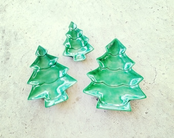 Trio Green Tree Dishes Trays Natural Decor Ceramic Trinket Storage Holiday Design Christmas