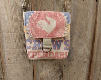 Vintage crow's hybrid corn seed sack cross-body