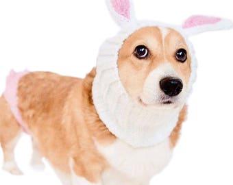 Bunny Rabbit Dog Snood | Knit Crochet Dog Hat | Dog Costume | Winter Scarf | Ear Warmer