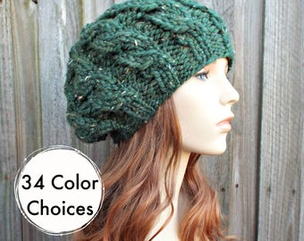 Womens Chunky Knit Hat - Tweed Kale Green Cable Beret - Fall Fashion Warm Winter Hat Knit Accessories - 34 Color Choices