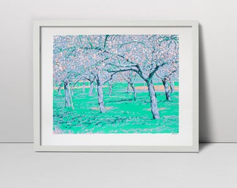 Flowering orchards serigraph - spring print - spring orchard - orchard art - tree flowering - spring blossoms - tree blossoms - spring decor