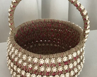 Pink Flower Bead Basket with Handle