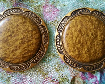 Large Vintage Coat Buttons Metal and Celluloid? 4.4 cm Gold/Bronze
