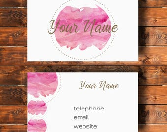 Printable business card, watercolor design digital print, pink and gold