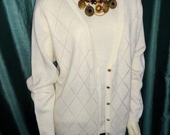 CLEARENCE SALE XL Cardigan/Alfred Dunner Cream Cardigan/Winter White Cardigan/90's Off White Cardigan/Gift For Her/ Item Nr.197