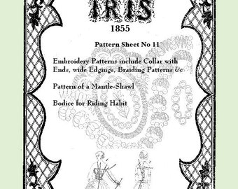 Iris Fashion Pattern 1855, No 11,  full size reprint