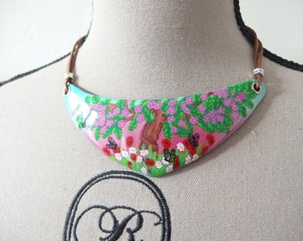 "Bib necklace ""Deep in the Woods"" polymer clay / forest poppy butterfly necklace"