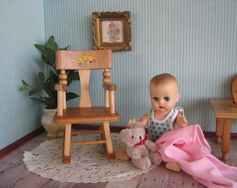 Vintage Doll Furniture- Strombecker Rocker With Nursery Rhyme Decals - Play Scale